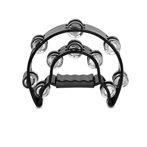 Half Moon Tambourine Steel-Black-Hand Held