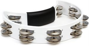 Hand Held Tambourine RT1020 White w/nickel jingles